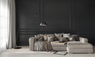 Gray living room with a beige cozy sofa