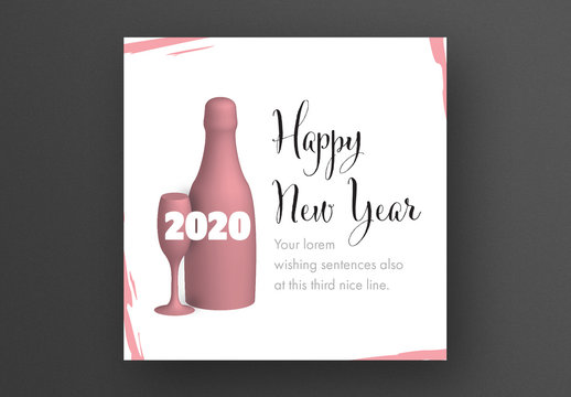 Happy New Year Card Layout with Glass and Champagne Illustration