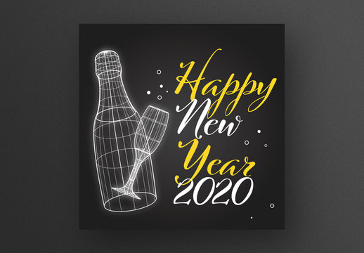 New Year Card Layout with Bottle and Glass Wireframe Illustrations