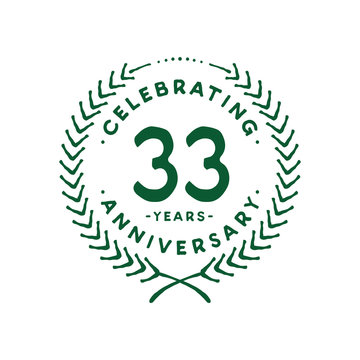 33 years design template. 33rd logo. Vector and illustration.