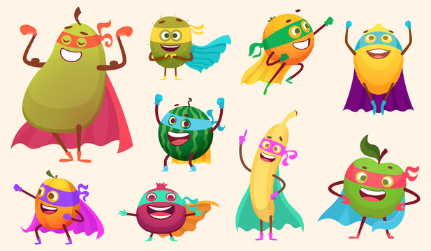 Superheroes fruits collection. Characters healthy vegetables comics style action poses garden food vector mascot collection. Characters fruits superhero, hero cartoon vegetable illustration