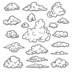 Obraz Hand drawn clouds. Weather graphic symbols decorative sky vector nature objects vector cloud collection. Illustration cloud weather, cloudy forecast - fototapety do salonu