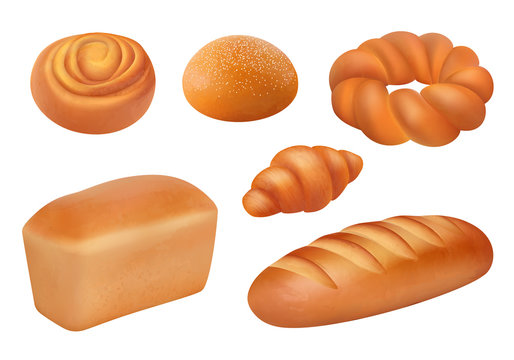 Bread realistic. Bakery food fresh tasting products french loaf baguette buns vector breakfast picture. Bakery bread food collection illustration, loaf realistic