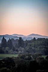 Recess Fitting Gray traffic dawn sunrise over California mountain valley landscape