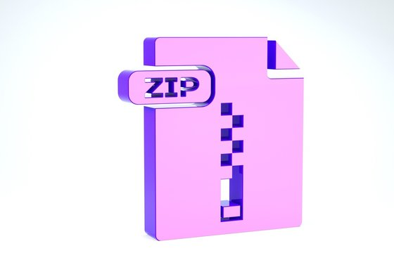 Purple ZIP file document. Download zip button icon isolated on white background. ZIP file symbol. 3d illustration 3D render