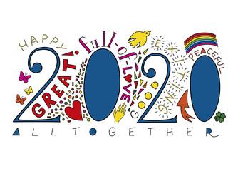 new year, 2020, greeting card, vector, white background, handwritten, hand lettering, rainbow, illustration, motivation Fototapete