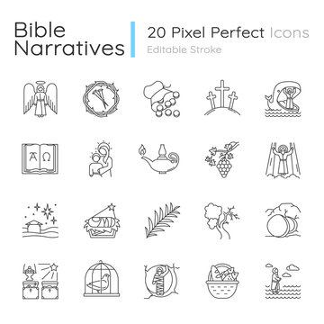 Bible narratives linear icons set. Life of Jesus Christ. Gospel miracles and parables. Legends of Holy Scriptures. Thin line contour symbols. Isolated vector outline illustrations. Editable stroke