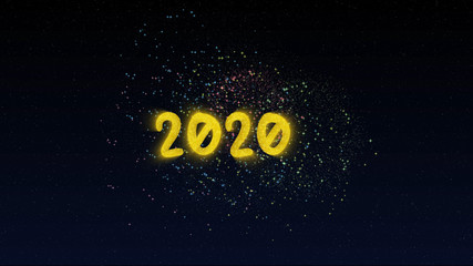 Happy New Year 2020 greeting text with sparkling fireworks illuminate explosion on night star sky background. High-quality best stock abstract image of Happy New Year 2020. Beautiful typography