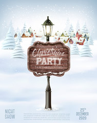 Merry Christmas and New Year holiday background with christmas landscape and wooden sign. Vector.