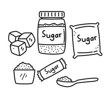 Set of sugar vector illustration with black and white hand drawn style isolated on white background
