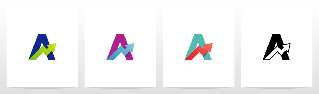 Arrow Chart On Letter Logo Design A