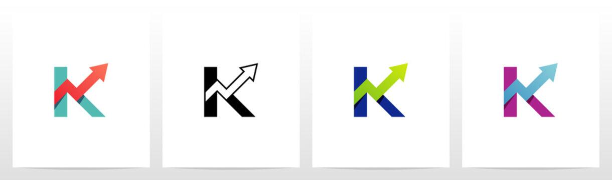 Arrow Chart On Letter Logo Design K