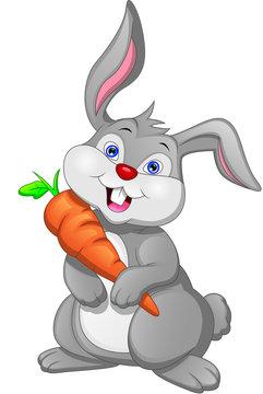 Cartoon happy rabbit and carrot