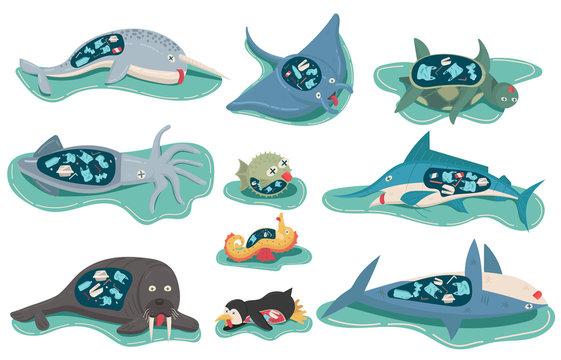 Environment plastics pollution concept effect marine animal life died, bill fish, manta ray, narwhal, penguin, puffer fish, sea turtle, seahorse, shark, squid, walrus. cartoon vector flat illustration