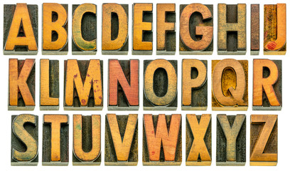 English alphabet in wood type isolated