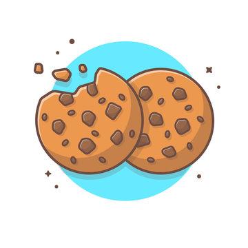 Double Cookies Vector Illustration. Breakfast Icon. Chocolate Chip Cookie Logo. Kids menu. Bitten, Broken. Flat Cartoon Style Suitable for Web Landing Page, Banner, Flyer, Sticker, Card, Background