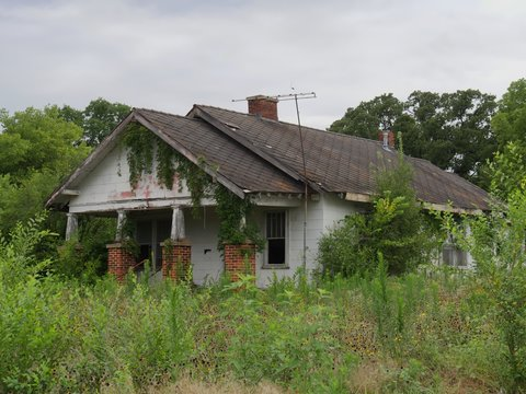 A dilapidated, abandoned house surrounded by shrubs and trees