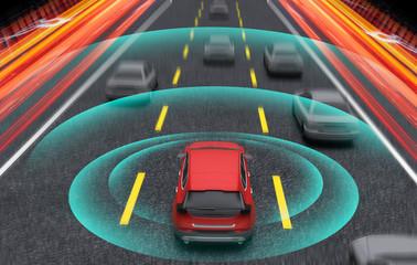Smart car, Autopilot, self-driving mode vehicle with Radar signal system, 3D Rendering illustration.