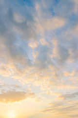sunset sky with colorful sunshine vertical in the morning