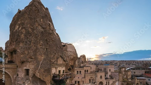Wall mural Day to night time lapse of cave in Cappadocia, Turkey.