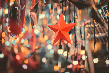 Fototapete - Close up silver star with bokeh, Christmas and new year abstract background.