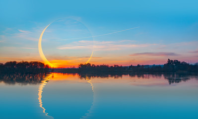 Wall Mural - Beautiful landscape with Solar Eclipse - Beauty sunset over the sea