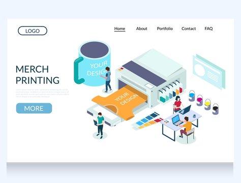 Merch printing vector website landing page design template