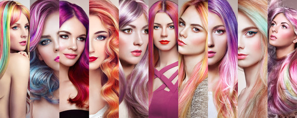 Photo sur Plexiglas Salon de coiffure Beauty fashion collage girls with colorful dyed hair. Faces of women. Girl with perfect makeup and pink hairstyles