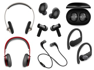 Realistic wireless headphones set, vector isolated illustration