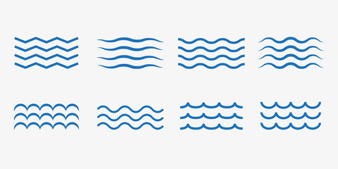 Wave icon set. Vector illustration, flat design.