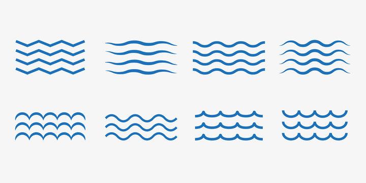 Wave icon set. Vector illustration, flat design.