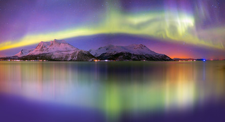 Printed roller blinds Northern Europe Northern lights (Aurora borealis) in the sky over Tromso, Norway