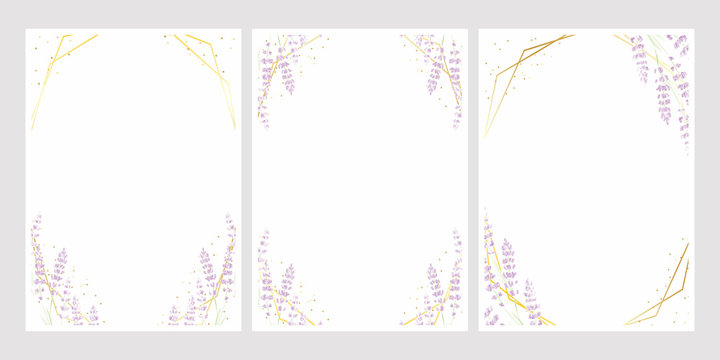 lavender watercolor with golden frame for wedding invitation card template 5x7