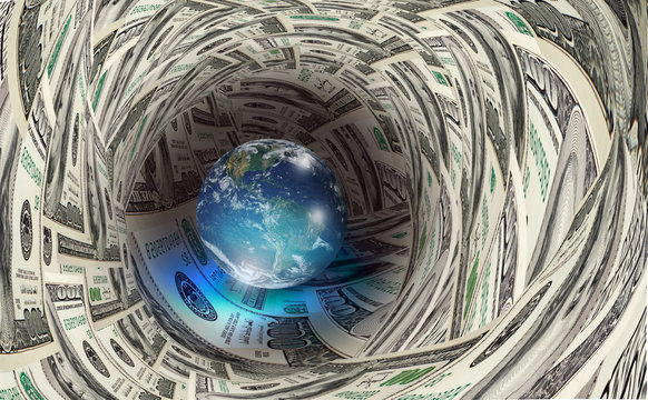 """Glass globe on the US dollars """"Elements of this image furnished by NASA """""""