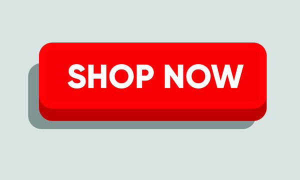 Shop now button for website, banner, newsletter, emailer. Vector three dimensional button in red.