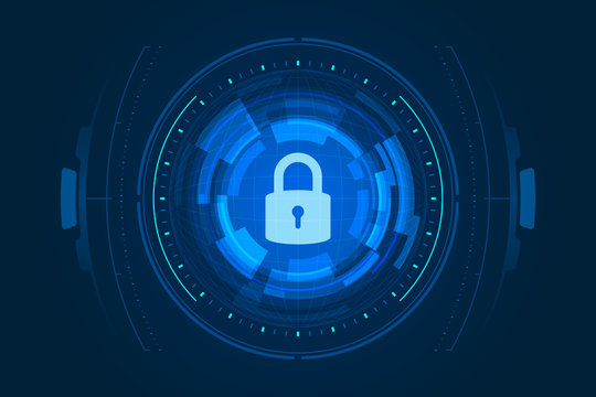 Cyber security illustration, lock icon and HUD on dark blue background.