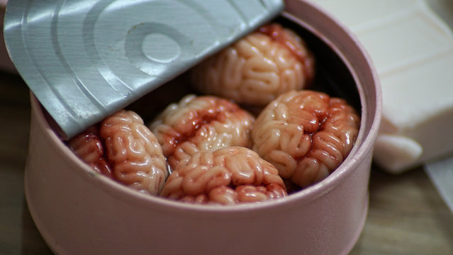A sardine can filled with tiny clay models of brains, sculpted by Singaporean artist Qixuan Lim, is pictured in Singapore