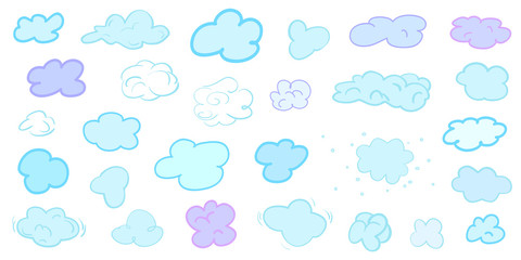 Colorful clouds on isolation background. Doodles on white. Hand drawn infographic elements. Colored illustration. Sketches for your artworks