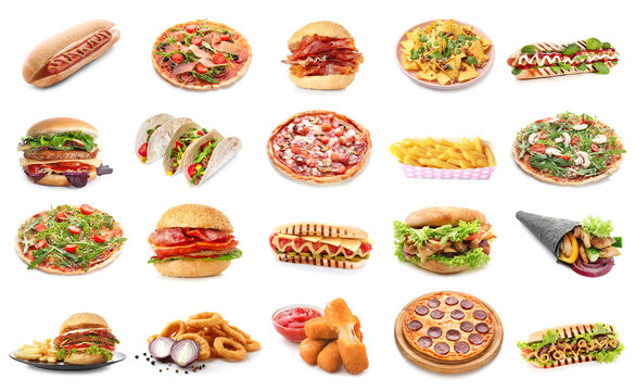 Set of different fast food products on white background