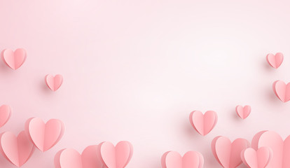Paper elements in shape of heart flying on pink background. Vector symbols of love for Happy Women's, Mother's, Valentine's Day, birthday greeting card design.. Fototapete