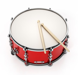 Snare drum set isolated on white background. 3D illustration