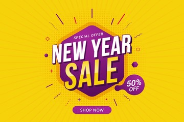 New Year sale discount banner template promotion design for business Wall mural