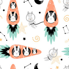 Foto op Canvas Bestsellers Kids Cute seamless pattern with hares on carrots rockets.