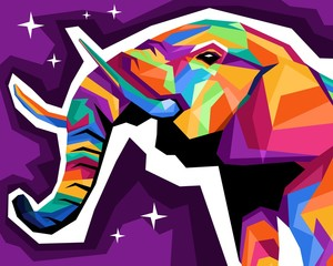 vector illustration of a colorful pop art Elephant