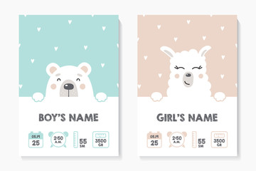 A set of children's posters, height, weight, date of birth. Bear, Lama. Vector illustration on mint and pink background. Illustration newborn metric for children bedroom.