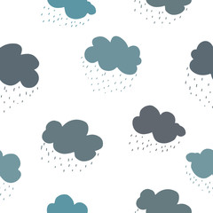 Blue green and grey clouds and rain drops seamless pattern.