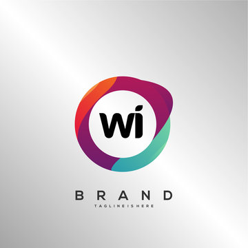 WI initial logo With Colorful Circle template vector.