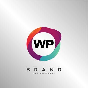 WP initial logo With Colorful Circle template vector.