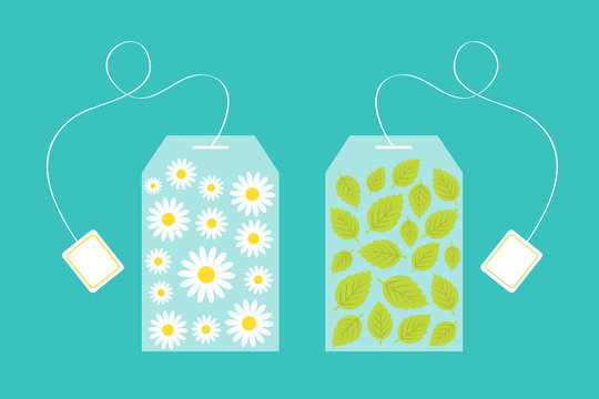 Tea bag herbal chamomile daisy camomile flower mint, spearmint inside. Teabag packaging with label icon set. Top wiew. Flat design. Isolated. Green background.