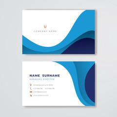 Blue business card clean pastel design template